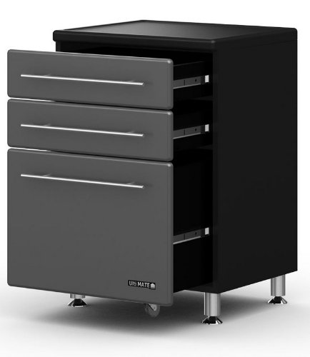 Graphite and Black Three Drawer Base Cabinet Graphite Gray Doors/Black Cabinet by BH North America