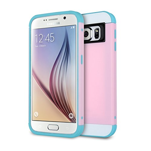 Galaxy S6 Case, S6 Case, ULAK 2in1 Hybrid Dual Layer Slim Protective Case Cover for Samsung Galaxy S6 (Plastic Hard Shell and Flexible TPU) (Baby Pink/Light Blue)