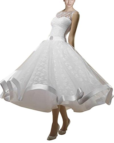 Now and Forever Women's Ribbon Tea Length Wedding Dress Puffy(12,ivory) (Tea Length Ribbon)