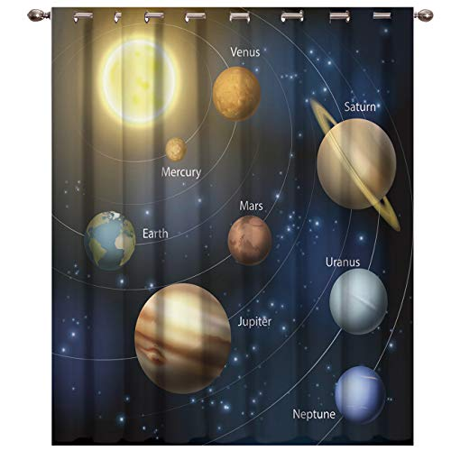 BABE MAPS Blackout Curtains with Sliver Grommet 1 Panel Solar System Nine Planets Orbit Curtain Window Coverings Thermal Insulated Light Blocking Curtains for Living Room - System Wall Map Solar