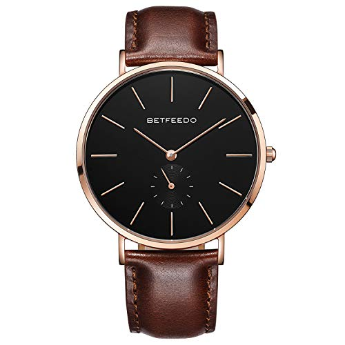 Betfeedo Dress Watches for Men Ultra-Thin Quartz Analog Watch with Genuine Leather Strap & Date Window ()