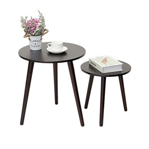IWELL Nesting Tables Coffee End Tables Set of 2 for Living Room, Sofa Table Side Table with Rubberwood Leg, Sturdy and Easy Assembly, Brown BZX001Z
