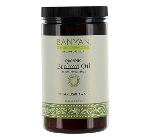 Banyan Botanicals Brahmi Oil with Coconut Base - USDA Certified Organic, 30 oz - Ayurvedic Skin & Hair Oil with Gotu Kola & Bacopa - Calms the Mind