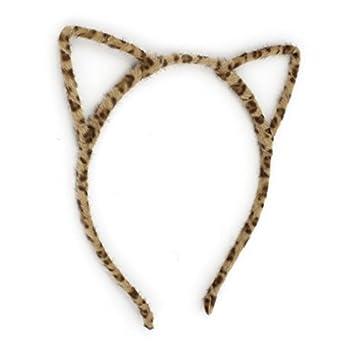 eDealMax Leopardo del oído del gato impresión Detallando muchacha del Pelo del ARO Cinta de cabeza