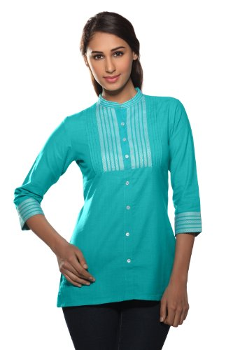 Women's Indian Kurti X-Large Turquoise by In-Sattva
