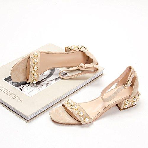 Moda Mujer verano sandalias confortables tacones altos,37 amarillo Beige(3.5cm heels)
