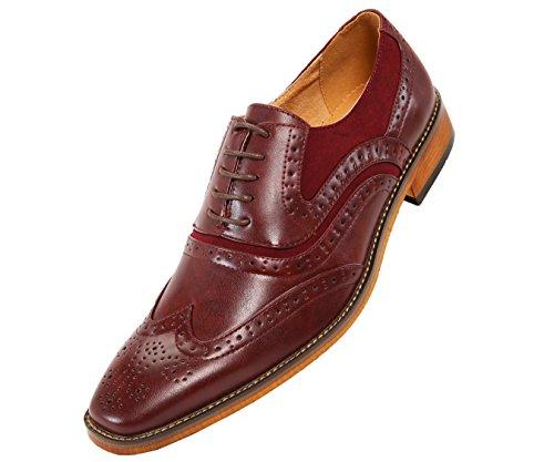 Amali Mens Tonal Smooth Microfiber Wingtip Spectator, Lace-up Oxford Dress Shoe, Style ()