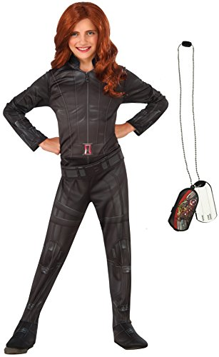 Captain Marvel Female Costume - Rubie's Costume Captain America: Civil War Black Widow Costume & Dog Tag Bundle, Multicolor, Small