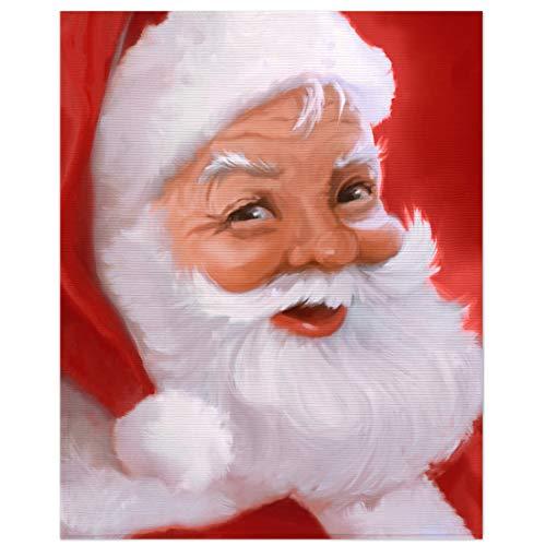 Safdie & Co. Christmas Flannel Ribbed 50X60 Santas Portrait Ultra Soft Throw, Black