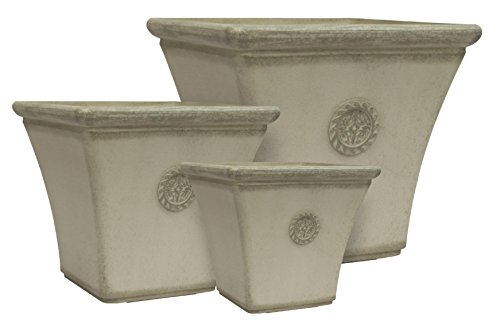 Fiberglass Stone - Happy Planter 608410081963 Natural Stone Plastic Resin and Fiberglass Planter (Set of 3), Large/Medium/Small, Smokey Cream