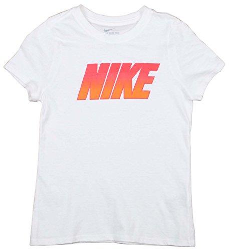 NIKE Big Girls' (7-16) Block Graphic T-Shirt-White-Small