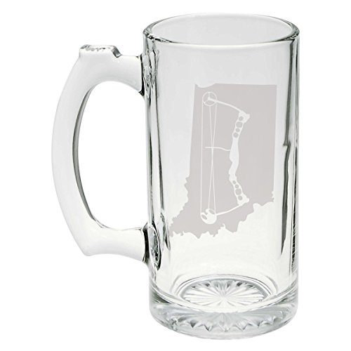 State of Indiana with Compound Bow Archery Hunting Etched Stein Glass 25oz, Mug (Bottle Gun Glass)