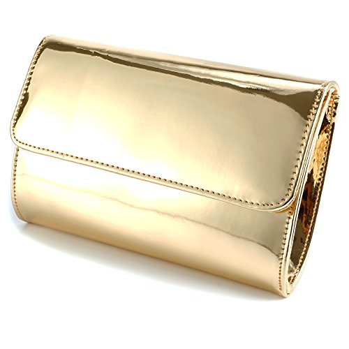ANLADIA METALLIC PATENT WOMEN CLUTCH DESIGNER LADIES WEDDING PROM EVENING BAG Gold
