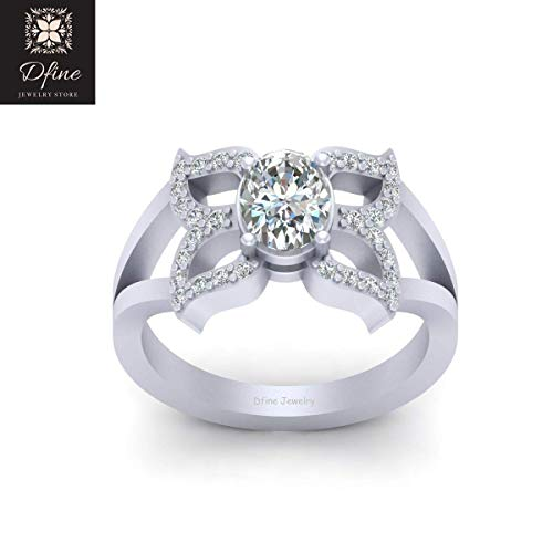 Solid 14k White Gold Butterfly Ring Oval Diamond Nature Inspired Wedding Ring For ()