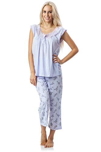 Casual Nights Women's Lace Sleeveless Top and Capri Bottom Sleepwear Pajama Set - Purple - X-Large