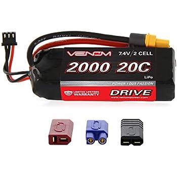 Venom 20C 2S 2000mAh 7.4V LiPo Battery with Universal Plug 2.0 (Traxxas / Deans / EC3)