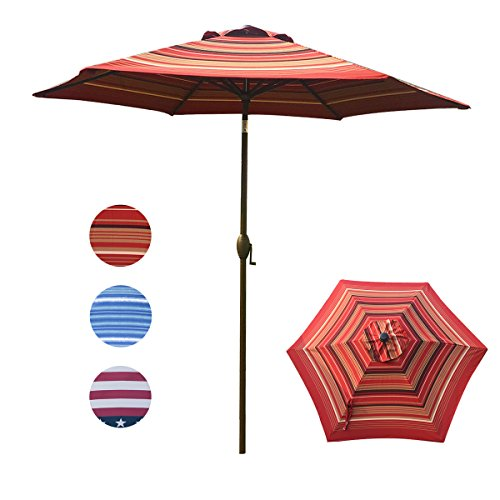 Abba Patio Striped Patio Umbrella 9-Feet Outdoor Market Table Umbrella with Push Button Tilt and Crank, Red Striped