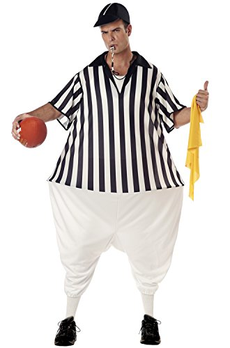 Football Referee Costume (California Costumes Men's Referee Costume, Black/White, One Size)
