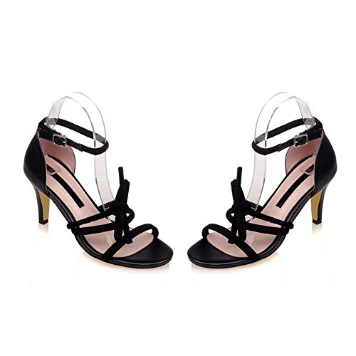 BalaMasa Womens Sandals Peep-Toe No-Closure Adjustable-Strap High-Heel Cold Lining Solid Fabric Smooth Leather Fashion Sandals ASL04571 Black 2zbvfyCsGN