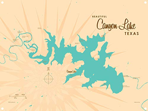 - Canyon Lake Texas Vintage-Style Map Metal Art Print by Lakebound (9
