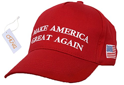 CHUNG Adult Adjustable Trump Hat Cotton Cap Make America Great Again, Red (Adult Hats)