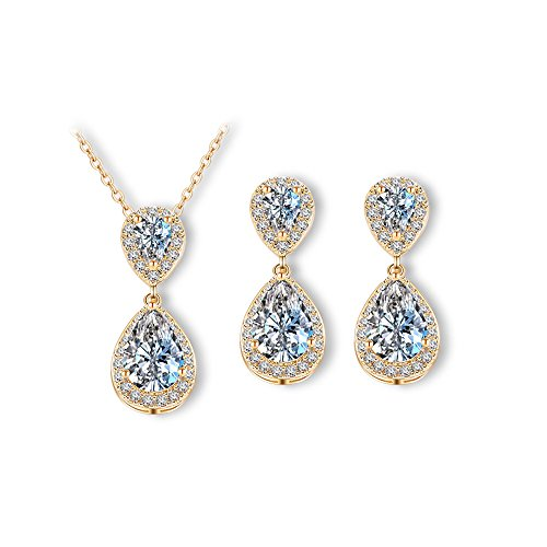 18k Flag Gold (FEDONA Silver/Rose Gold/18K Gold Plated CZ Teardrop Bridal Necklace and Earring Set for Weddings Bridesmaids Prom)