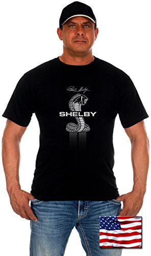 JH DESIGN GROUP Mens Shelby Cobra T-Shirt With Exclusive American Flag Sticker (2X, Shelby-Black) Xenon Cobra Design