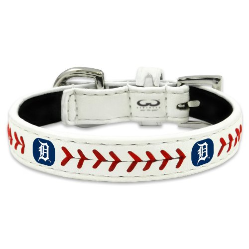 MLB Detroit Tigers Classic Leather Baseball Dog Collar (Small)