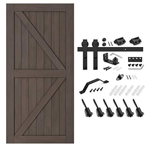 SMARTSTANDARD 42in x 84in Sliding Barn Door with 8ft Barn Door Hardware Kit & Handle, Pre-Drilled Ready to Assemble, DIY Unfinished Solid Spruce Wood Panelled Slab, K-Frame, Natural