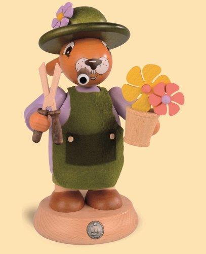 German incense smoker Easter bunny gardener, height 18 cm / 7 inch, original Erzgebirge by Mueller Seiffen
