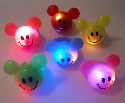 LED Light Up Flashing Mouse Ears Party Favor Rings - 36 PC Rings by Mammoth Sales (Smiling)