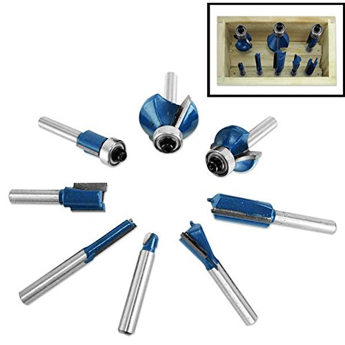 """Domeiki 9pc Router Bit Set 1/4"""" Shank Wood Carving Cutting Design Tungsten Carbide Tool from Domeiki Home"""