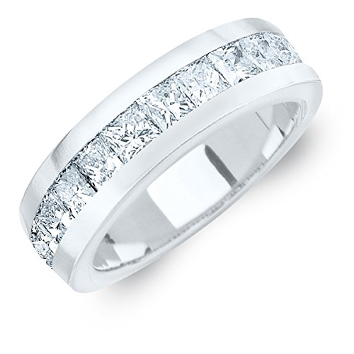 2 CTTW Men's Princess Cut Diamond Ring in Platinum (2.0 cttw, E-F Color, VVS Clarity) Size 9.5 (Platinum Ring Eternity Diamond)