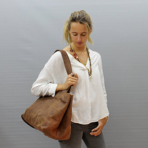Distressed brown leather bag tote bag Large leather handbag Handmade purse by Leather Bags and Accessories Handmade by Limor Galili