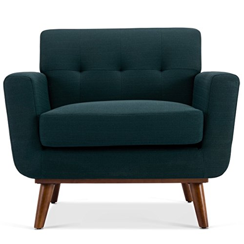 Belleze Isaiah Modern Mid-Century Tufted Upholstered Low Back Accent Chair Armchair w/Polished Wooden Leg, (Loose Seat Lounge Chair)