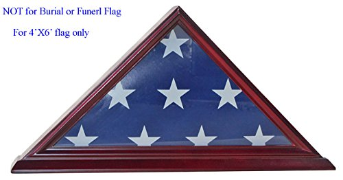 4' X 6' Flag Display Case Flag Storage Shadow Box (NOT for Burial Flag Size), Solid Wood, CHERRY Finish (FC03-CH) 4 H Flags