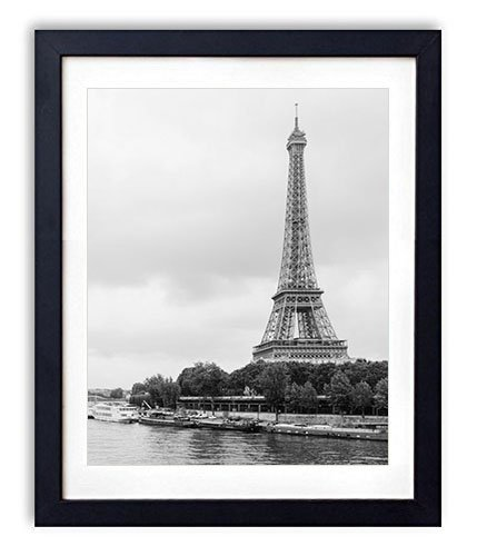 SHADENOV Black Wood Framed Wall Art - Eiffel tower Paris France River Architecture - Art Print Pictures For Wall Decoration 14x20 Inches Black and White