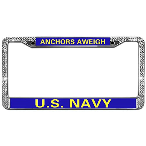 GND Rhinestone Car License Plate Frame,Anchors AWEIGH Navy Bling Crystal License Plate Frame Proud Navy DAD License Plate Frame for Women Diamonds with Screw Caps
