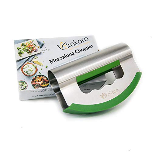 2Kokoro Mezzaluna Salad Chopper Double Blade-Stainless Steel Mezzaluna Knife-Protective Cover-Ergonomic