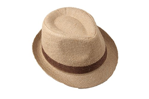 Dantiya Little Boys'/ Kids Linen Straw Band Fedoras Hat Caps Camel, One Size]()