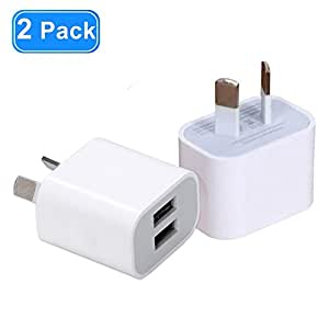 USB Wall Charger with AUS plug, 2-Pack 2.1A/5V Dual Port USB Charger Plug Power Adapter for iPhone X/8/7/6/6S Plus/5S/5, Samsung, LG, HTC, Huawei and More