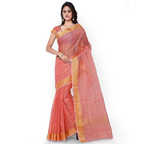 (Rajnandini Women's Kota Doria Cotton Saree(JOPLSRS1033G_Peach_Free Size))