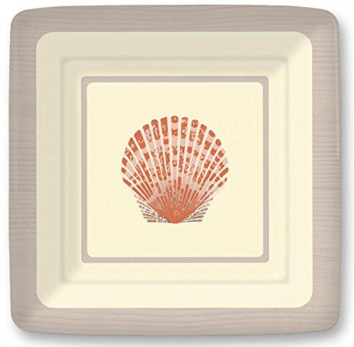 Entertaining with Linnea Sea Shells 7 inch Square Salad, Dessert Plates, 8-Pack