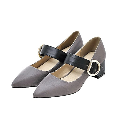 Soild Heels Toe Gray Buckle Women's Closed Kitten Pump WeenFashion Shoes qEStBw7xnx