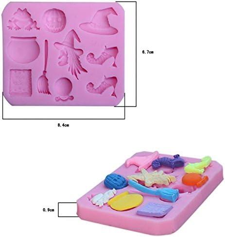 MoGist Silikonform Rosa Halloween K/ürbis Hexe Modellierung DIY Fondant Kuchenform Tortendeko Handgemachte Seifenform 1 St/ück