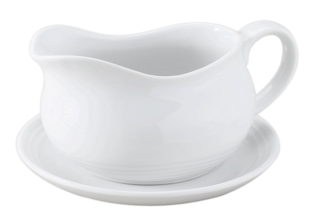 HIC Hotel Gravy Sauce Boat with Saucer Stand, Fine White Porcelain, 24-Ounces by HIC Harold Import Co.