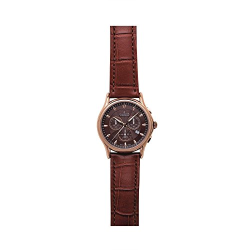 Charmex Silverstone 2677 42mm Stainless Steel Case Brown Calfskin Synthetic Sapphire Men's Watch