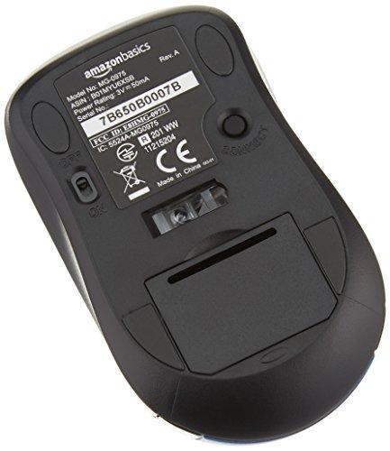AmazonBasics Wireless Computer Mouse with USB Nano Receiver - Blue