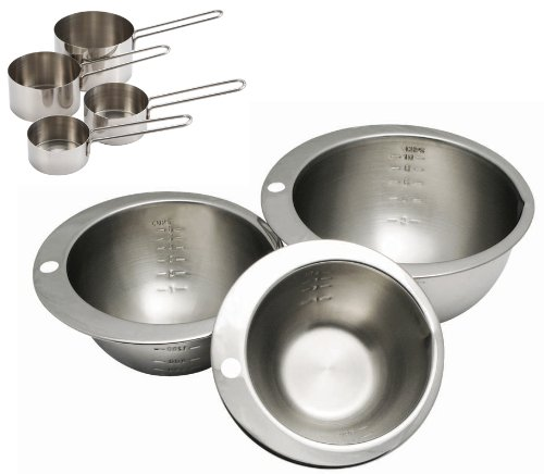 Cybrtrayd 7-Piece Chocolatier's Stainless Steel Measuring Bowl and Cup Set