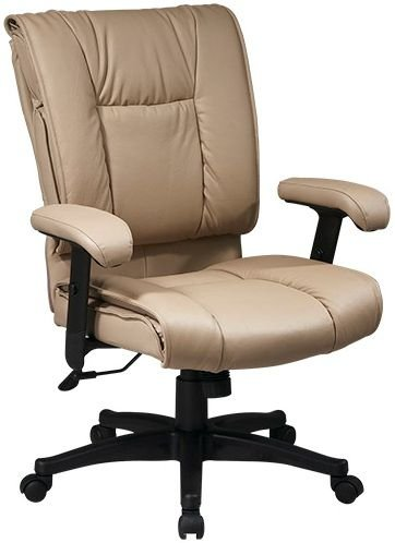 Office Star Work Smart Deluxe Mid Back Leather Chair with Pillow Top Seat - Tan by Office Star